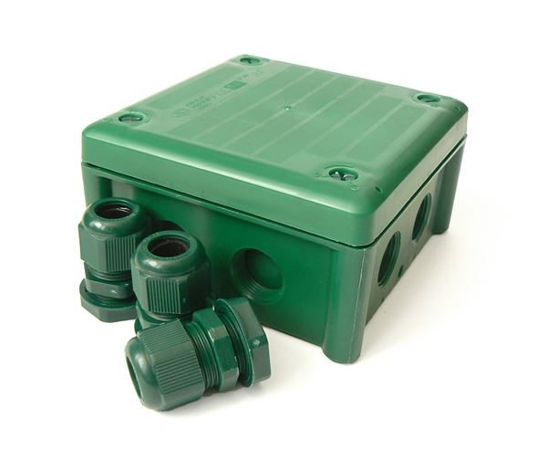 IP66 102x102x60 Green Box with Glands